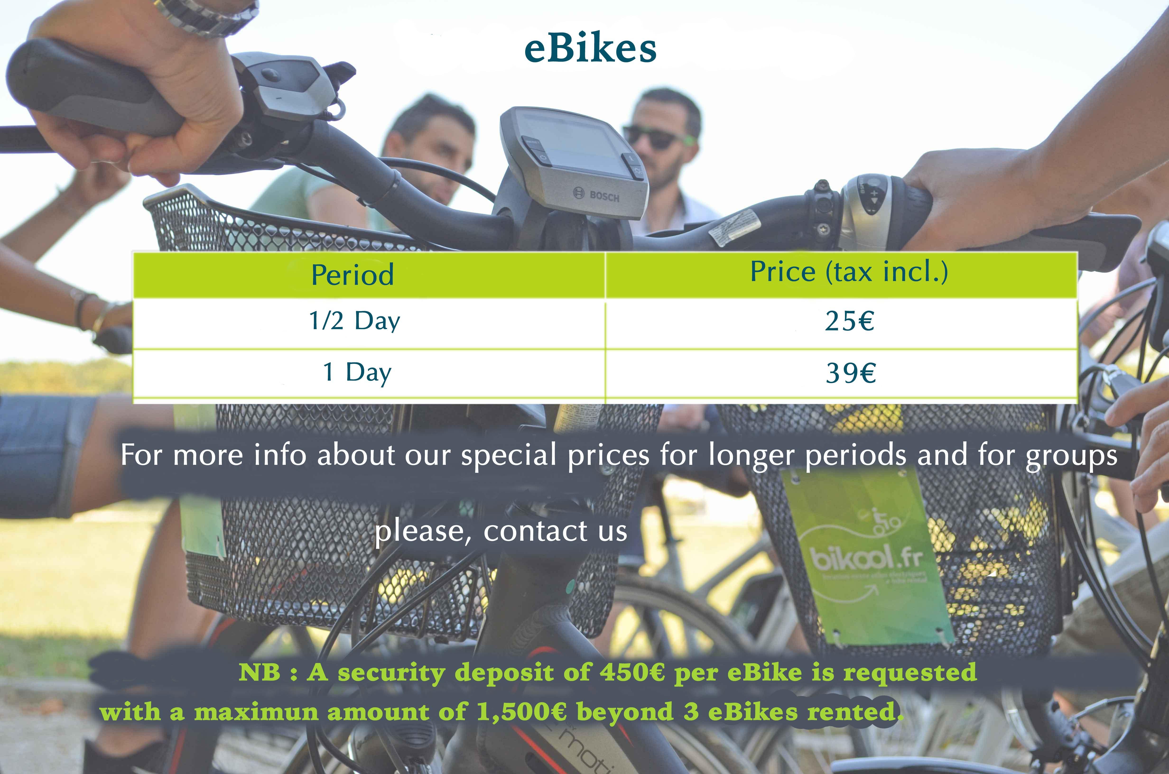 eBikes rental fees